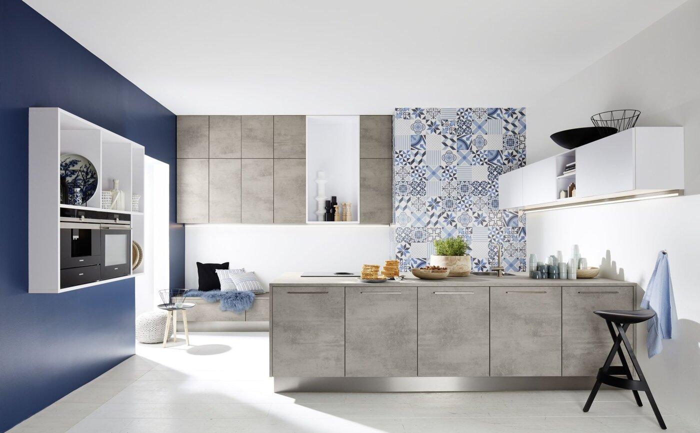 Hedendaagse keuken contrast grijs blauw